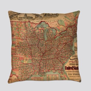 Vintage United States Map (1883) Everyday Pillow