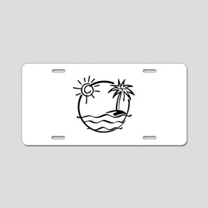 Palm Tree Aluminum License Plate