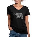 Celtic Polar Bear Women's V-Neck Dark T-Shirt