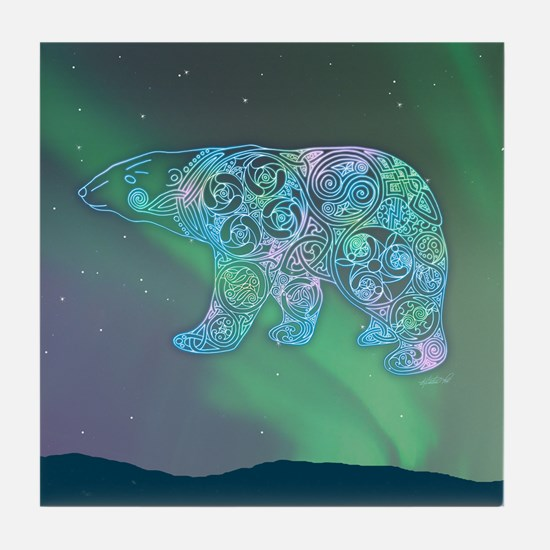 Celtic Polar Bear Tile Coaster