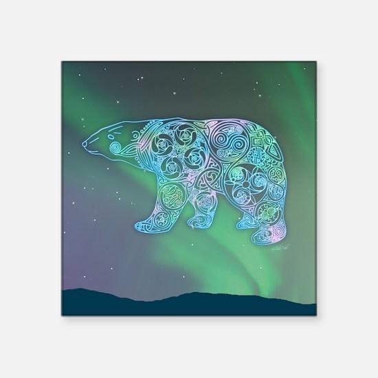 "Celtic Polar Bear Square Sticker 3"" x 3"""