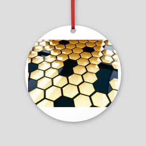 Golden Hexagons Ornament (Round)