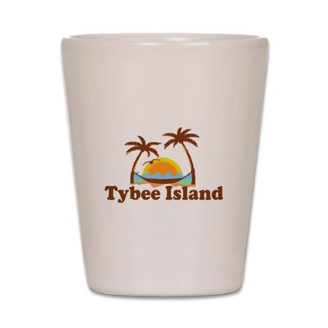 Tybee Island GA - Palm Trees Design. Shot Glass