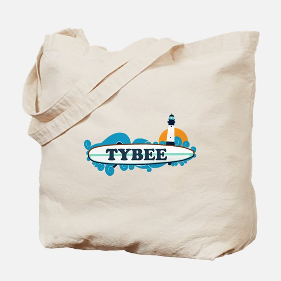 Tybee Island GA - Surf Design. Tote Bag