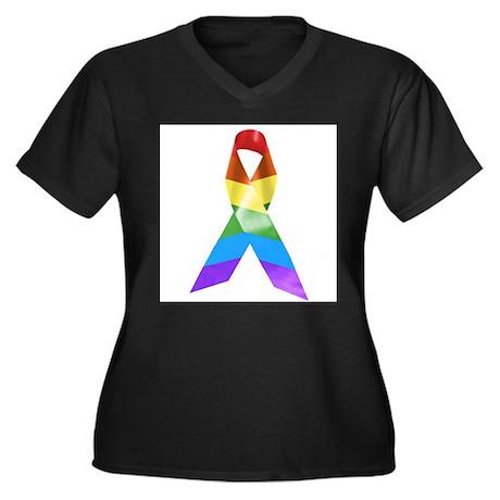 HIV Poz Pride Ribbon Women's Plus Size V-Neck Dark