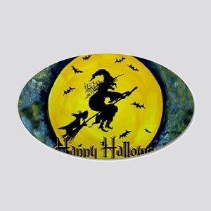 Scottie Witch Broom 20x12 Oval Wall Decal