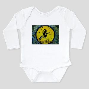 Scottie Witch Broom Long Sleeve Infant Bodysuit