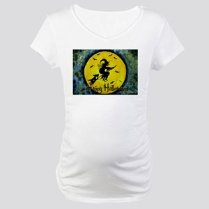 Scottie Witch Broom Maternity T-Shirt