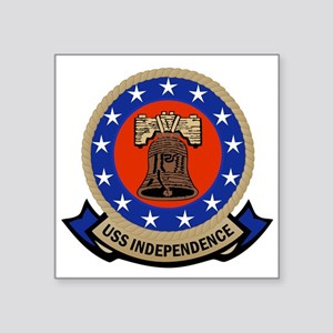 "USS Independence Square Sticker 3"" x 3"""