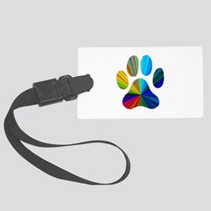10 x 10 rainbow paw Large Luggage Tag