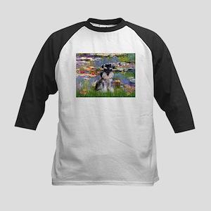 Lilies & Schnauzer pup (Nat) Kids Baseball Jersey