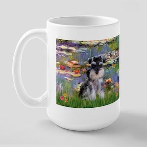 Lilies & Schnauzer pup (Nat) Large Mug