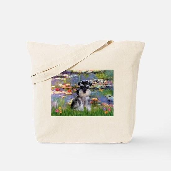 Lilies & Schnauzer pup (Nat) Tote Bag