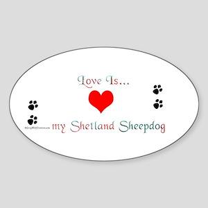 Shetland Love Oval Sticker