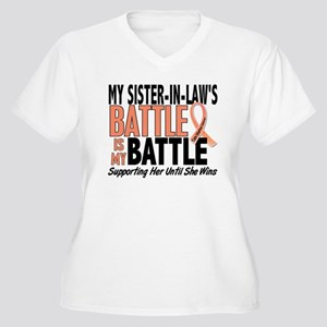 My Battle Too Uterine Cancer Women's Plus Size V-N