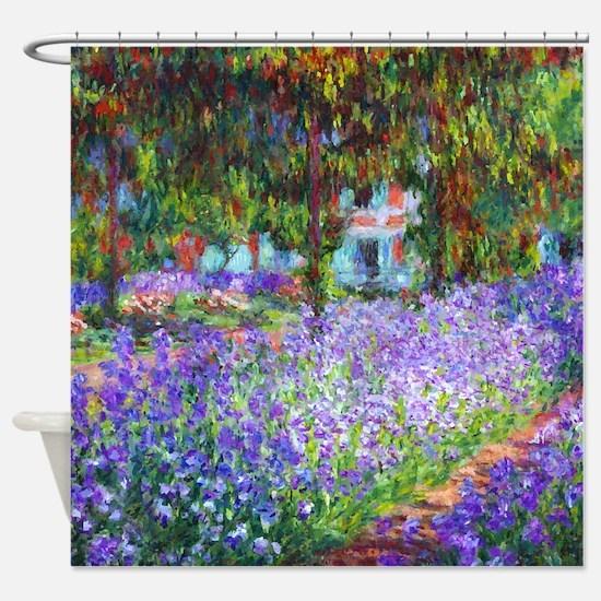 Monet - Irises in Garden Shower Curtain