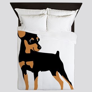 Cartoon Miniature Pinscher 1 Queen Duvet