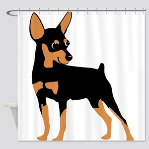 Cartoon Miniature Pinscher 1 Shower Curtain
