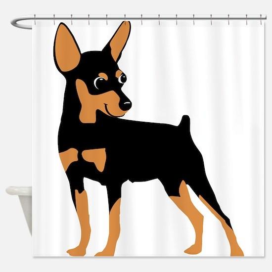 Cartoon Miniature Pinscher 1 Shower Curtain