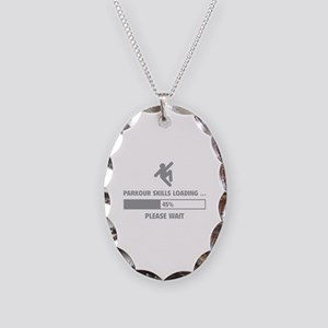 Parkour Skills Loading Necklace Oval Charm