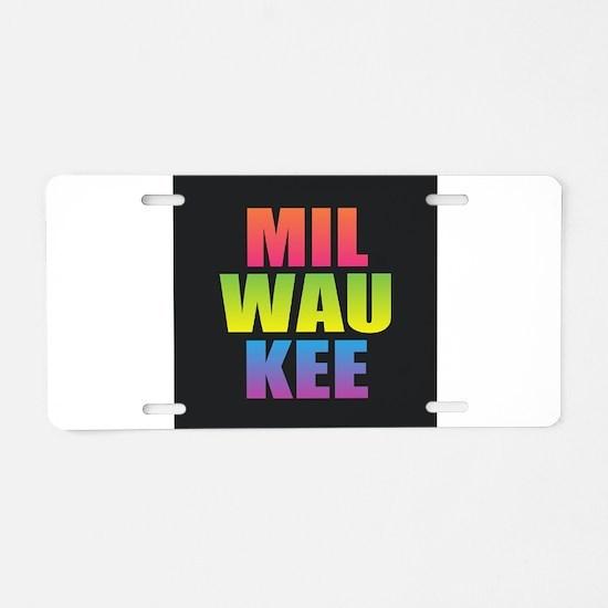 Milwaukee Black Rainbow Aluminum License Plate