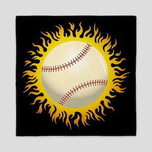 Flaming Baseball Queen Duvet