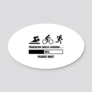 Triathlon Skills Loading Oval Car Magnet