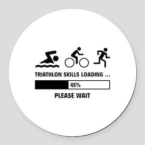 Triathlon Skills Loading Round Car Magnet