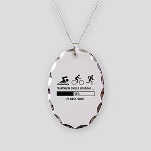 Triathlon Skills Loading Necklace Oval Charm