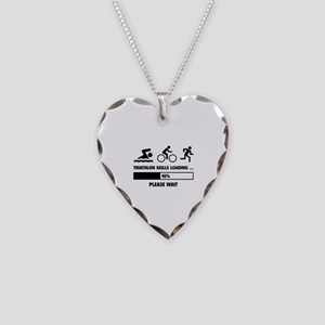 Triathlon Skills Loading Necklace Heart Charm