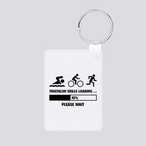 Triathlon Skills Loading Aluminum Photo Keychain