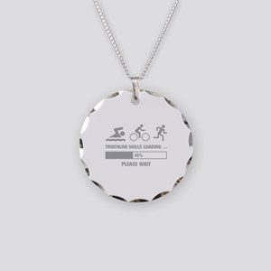 Triathlon Skills Loading Necklace Circle Charm