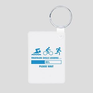 Triathlon Skills Loading Aluminum Photo Keychain