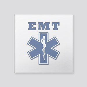 "EMT Blue Star Of Life* Square Sticker 3"" x 3&"