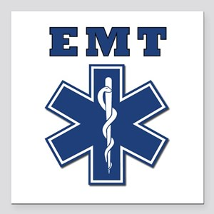 "EMT Blue Star Of Life* Square Car Magnet 3"" x"