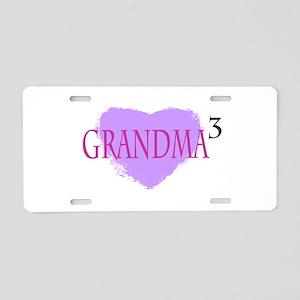 Grandma to the Third Power Aluminum License Plate