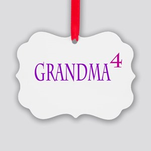 Grandma of Four Picture Ornament