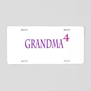 Grandma of Four Aluminum License Plate
