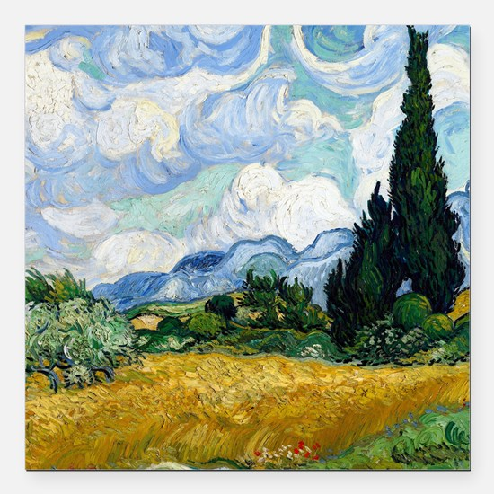 Van Gogh Wheat Field With Cypresses Square Car Mag