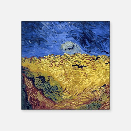 "Van Gogh Wheatfield with Crows Square Sticker 3"" x"