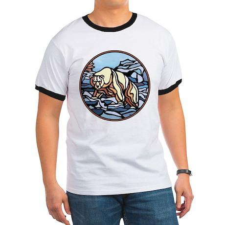 Polar Bear Art Ringer T-Shirt Wildlife Design