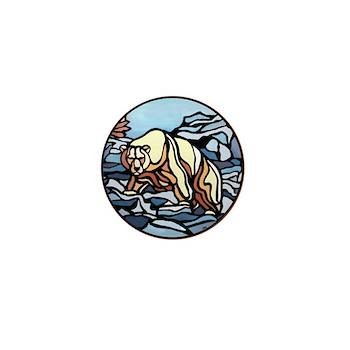 Polar Bear Art Mini Button 100pk Wildlife Painting