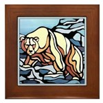 Polar Bear Art Framed Tile Wildlife Painting