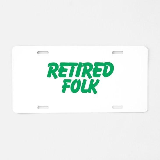 Retired Folk Aluminum License Plate