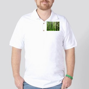 Forest view with birch trees spring sum Golf Shirt