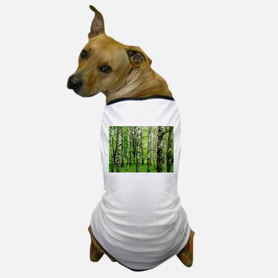 Forest view with birch trees spring su Dog T-Shirt