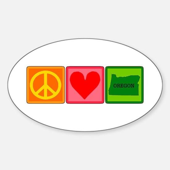 Peace Love Oregon Sticker (Oval)
