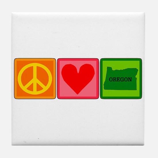 Peace Love Oregon Tile Coaster