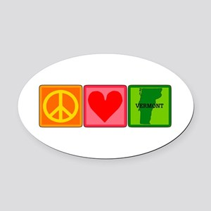 Peace Love Vermont Oval Car Magnet