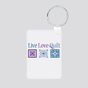 Live Love Quilt Aluminum Photo Keychain